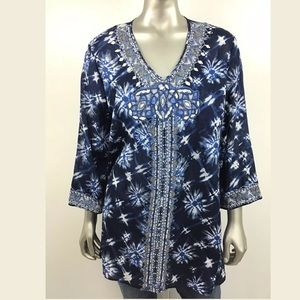 CHICO'S Blue Beaded ANNIVERSARY V Neck Tunic Top